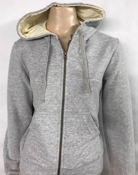 Pearl Grey Cotton Jumper with Zipper for Women