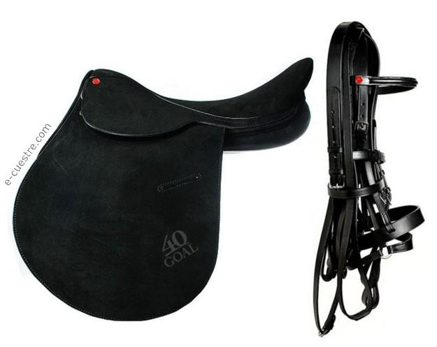 40GOAL Black Flesh Suede Leather Saddle + Black Full Bridle Set
