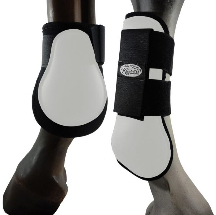 2 Pair of White and Black PRO Guards for Legs & Tendon
