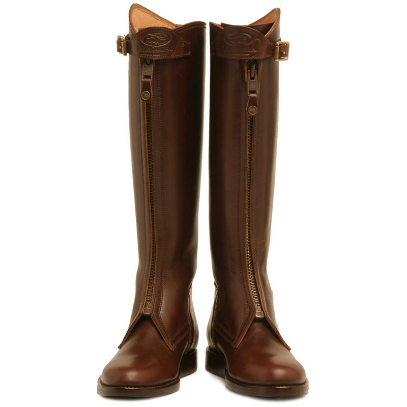 Havana Brown Polo Boots with zipper for men