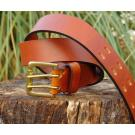 Oak Premium Leather Belt with Double Pin Bronze Buckle