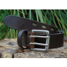 Brown Premium Leather Belt with Double Pin Nickel Buckle