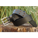Black Premium Leather Belt with Double Pin Nickel Buckle